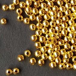 Metallpärla 2mm guldfärgad 5g