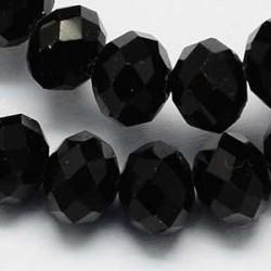 Glaspärlor Abacus svart 6x4mm